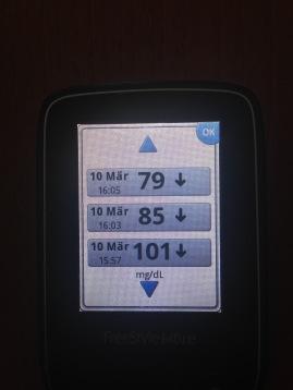 Eine knappe halbe Stunde nach dem Start rauschte der Glukosewert steil nach unten (von unten nach oben)