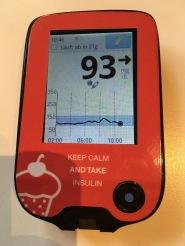 So sah meine Glukosekurve beim Frühstück (Brot mit Schinken, Käse und Nutella) aus, als ich mit Fiasp einen SEA von 15 Minuten einhielt.